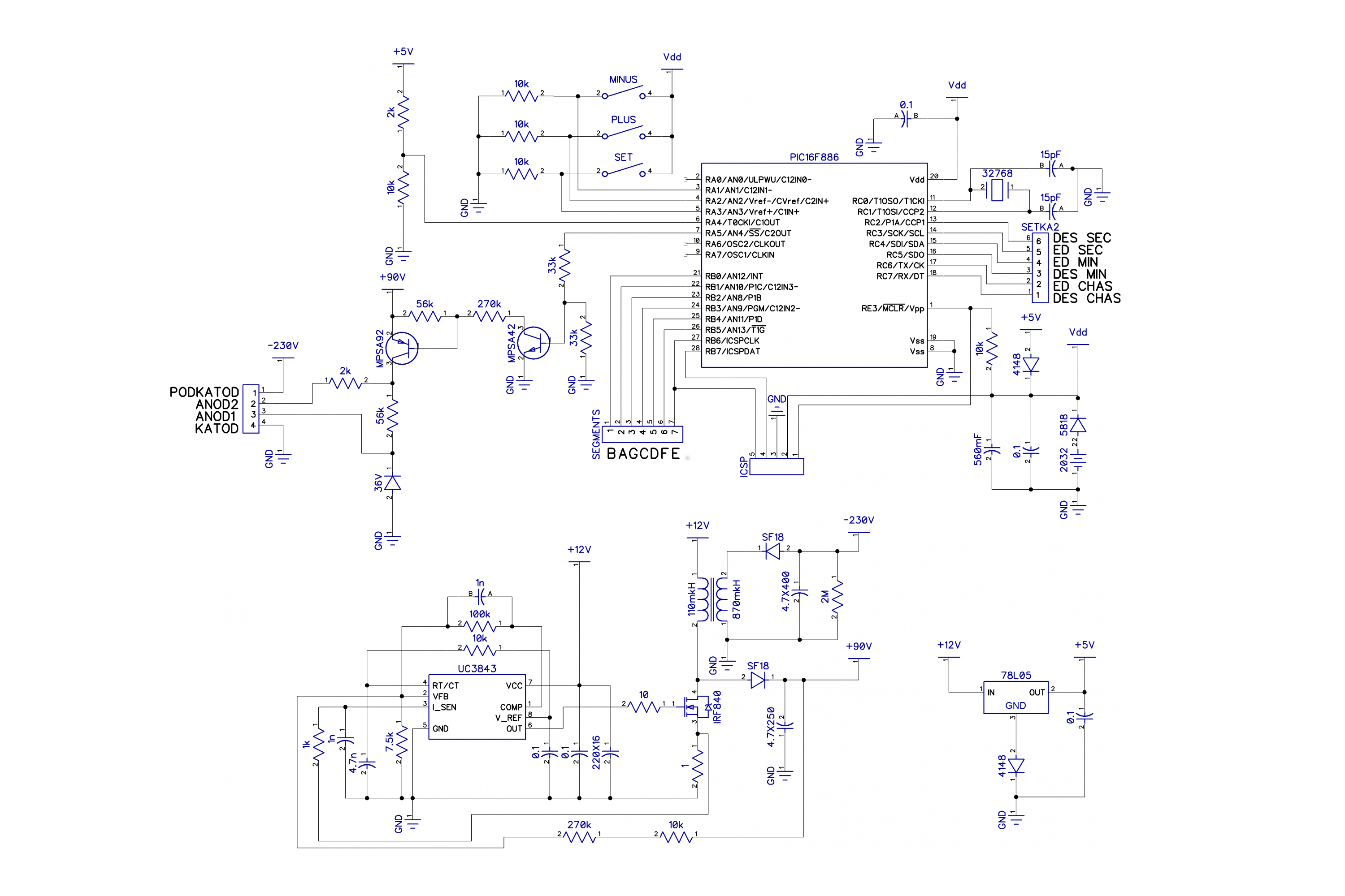 Tubeclockdb Nixie Clock Circuit Diagrams Schematic Its1a B 16f886 Modified Anode2 2k Resistor